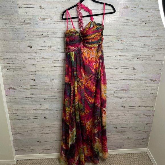 COPY - La Femme Pink leopard print 10 gown maxi dress